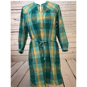 Patagonia Plaid Shirt Dress 10 Snap Front Tie Teal